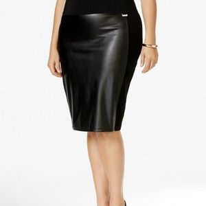 Calvin Klein Plus Size Faux Leather-Front Skirt 3X